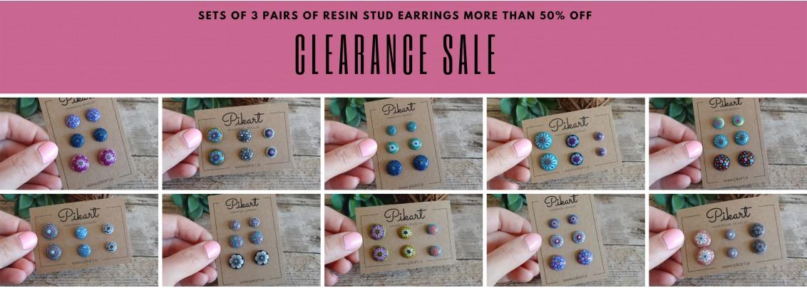 Sets of 3 pairs of resin stud earrings