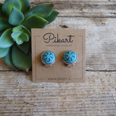 Boho Clip On Earrings - Turquoise Mandala Jewelry
