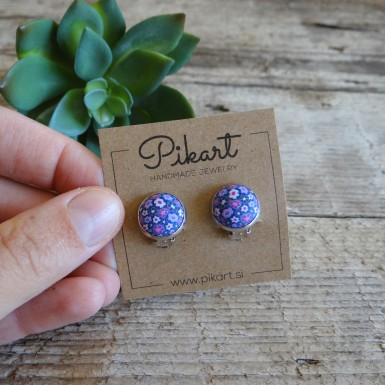 Blue Floral Clip On Earrings - Cutest Stud Earrings