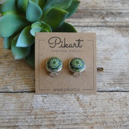 Green Geometric Clip On Earrings - Mandala Earrings