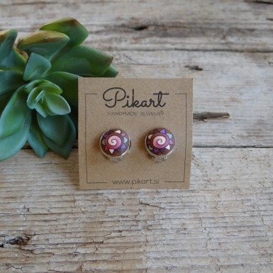 Cute Pink Spiral Clip On Earrings for Girls