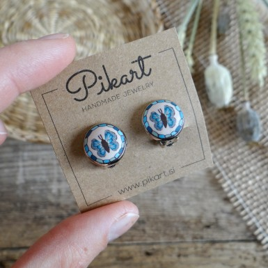 Blue Butterfly Clip On Earrings