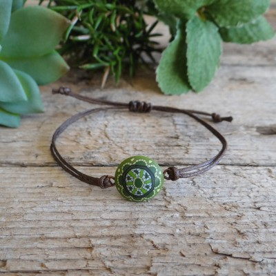 Spiritual Green Mandala Bracelet for Couples