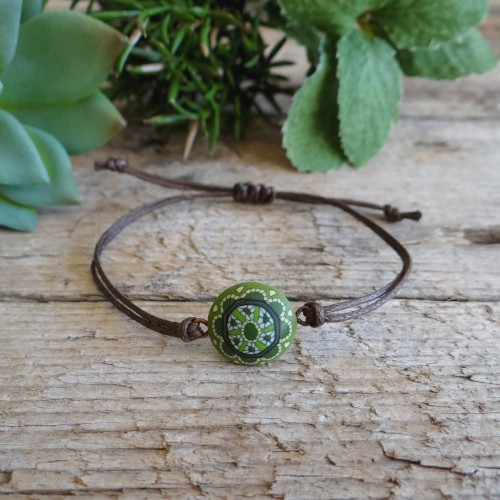Spiritual Green Mandala Bracelet for Couples