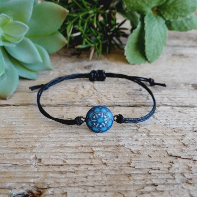 Unisex Cord Bracelet with Blue Mandala Pattern