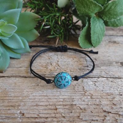Cool Boho Turqoise Bracelet on a String with Mandala Charm
