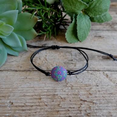 Bohemian Floral Bracelet  with a Charm