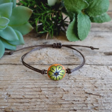 Cool Summer String Bracelet with a Flower Charm