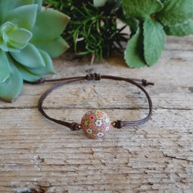 Unique Orange and Brown Floral String Bracelet