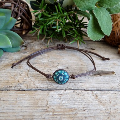Unique Bohemian Brown and Teal Stackable String Bracelet