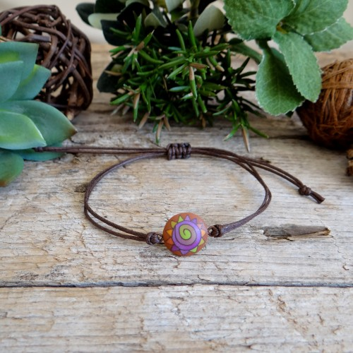 Unique Handmade Cotton Cord Bracelet with a Colorful Abstract Charm