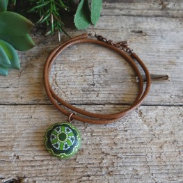 Cool Green Choker Necklace on a Brown Leather Cord