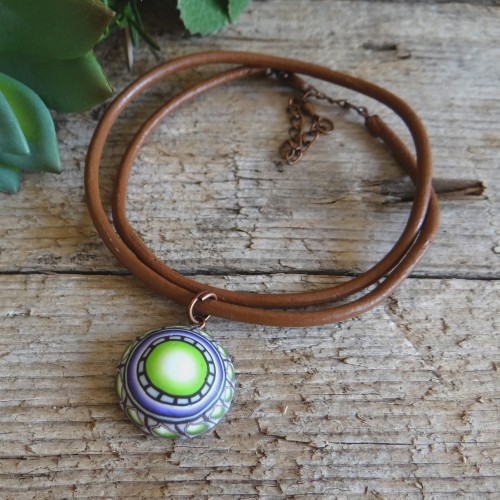 Green and Brown Mandala Pendant Choker Necklace for Men and Women