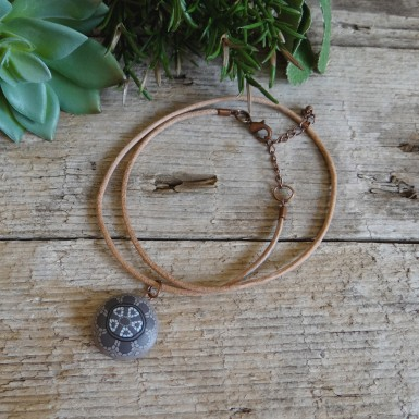 Cool Brown Surfer Choker Necklace for Men With a Mandala Pendant
