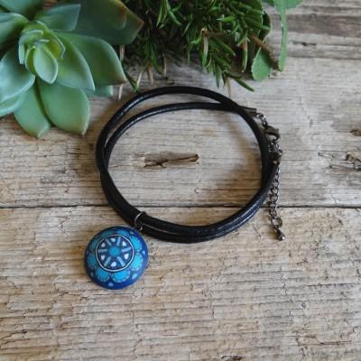 Blue Mens Choker Necklace with A Mandala Pendant