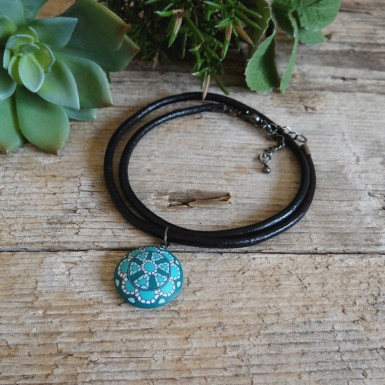 Turquoise Choker Necklace on a Leather Cord for Surfers