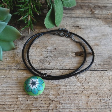 Green Flower Choker Necklace on a Leather Cord
