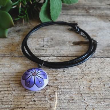 Purple Women's Choker Necklace with a Flower Pendant