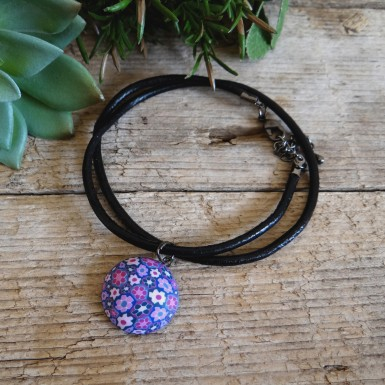 Cute Girls Choker Necklace with a Purple and Blue Floral Charm