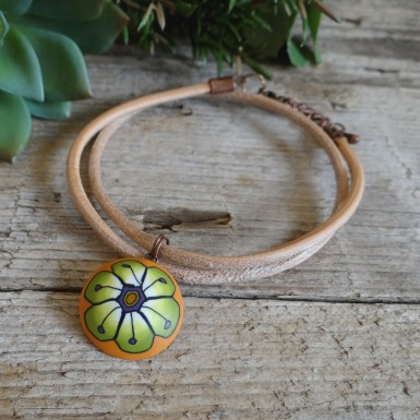 Summer Leather Choker Necklace with an Orange Flower Pendant