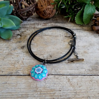 Pink and Turquoise Charm Choker Necklace for Girls