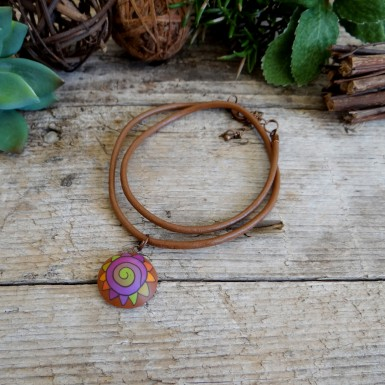 Colorful Abstract Pendant on a Brown Leather Cord