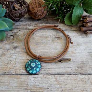 Bohemian Brown and Teal Choker Necklace