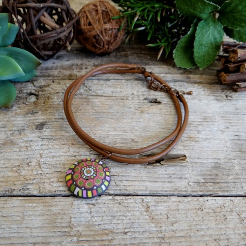 Colorful Pendant on a Brown Leather Cord