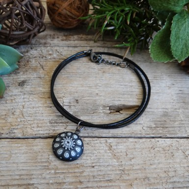 Cool Black and White Unique Pendant Necklace on a Black Leather Cord