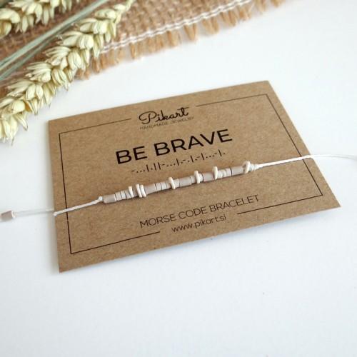 Beaded BE BRAVE Morse Code Bracelet