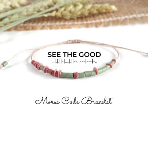Secret Message SEE THE GOOD Morse Code Bracelet