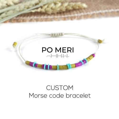 CUSTOM TEXT Magenta, Mint Green and Lime Beaded Morse Code Bracelet