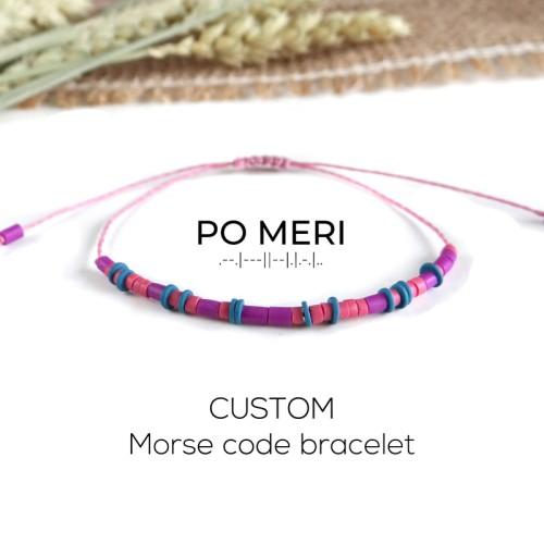 CUSTOM TEXT Magenta, Pink and Blue Beaded Morse Code Bracelet