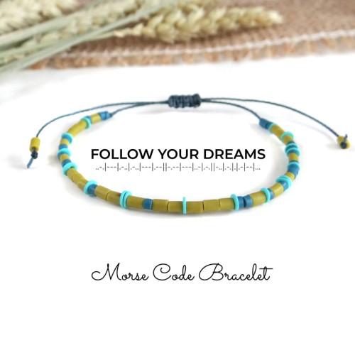 FOLLOW YOUR DREAMS Quote Morse Code Bracelet