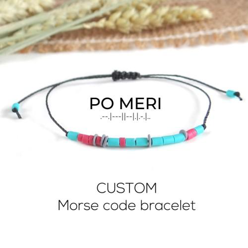 CUSTOM TEXT Mint Green, Pink and Grey Beaded Morse Code Bracelet
