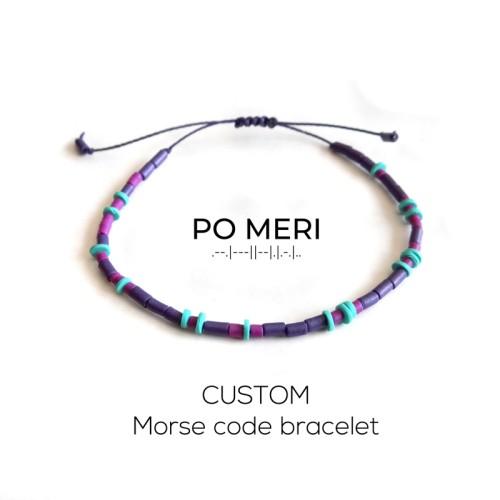 CUSTOM TEXT Magenta, Purple and Mint Green Beaded Morse Code Bracelet