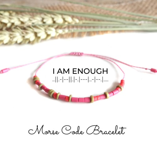 Custom Message Morse Code Bracelet in Coral and Pink