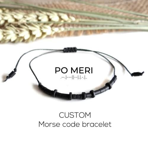 CUSTOM TEXT Black Beaded Morse Code Bracelet