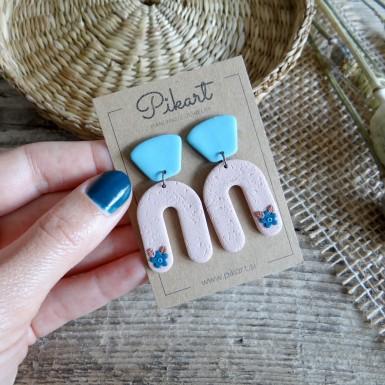 Modern statement dangle earrings in blue and beige