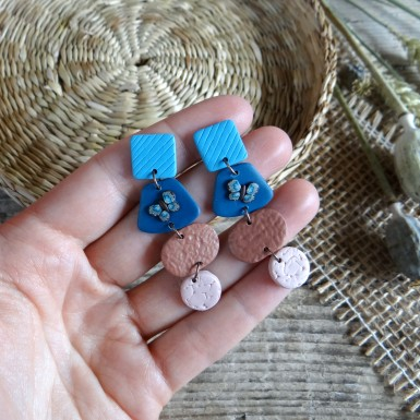 Modern statement dangle earrings in blue and brown