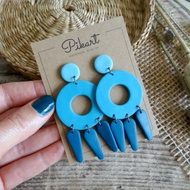 Modern statement dangle earrings in blue