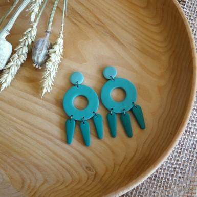 Modern monochrome teal statement dangle earrings