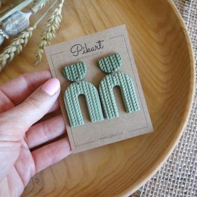 Modern green statement dangle earrings