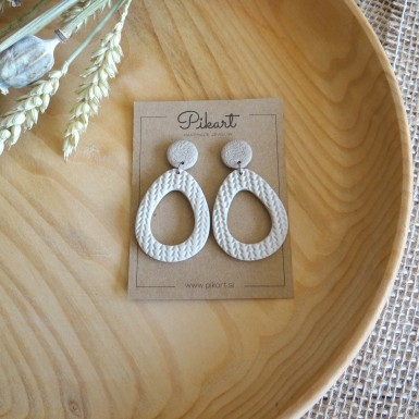 Modern beige statement dangle earrings