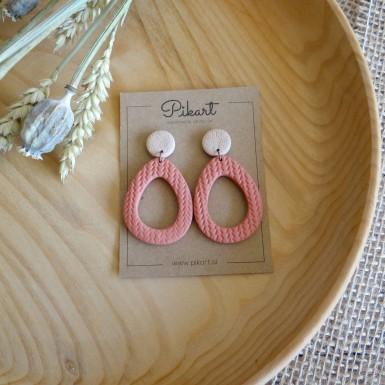 Modern light coral statement dangle earrings