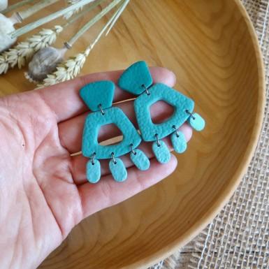 Modern teal statement dangle earrings