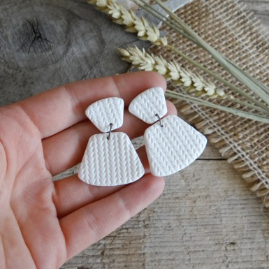 Modern white statement dangle earrings