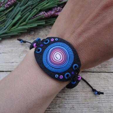 Large Black Statement Bracelet with Spiral Pattern
