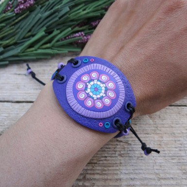 Wide Purple Statement Bracelet in Boho Style
