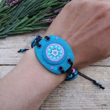 Unique Wide Turquoise Bracelet in Boho Style